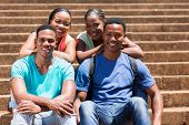 happy young afro american college students on campus