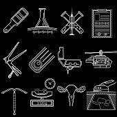 stock photo of obstetrics  - Set of flat white line vector icons for gynecology and obstetrics on black background - JPG