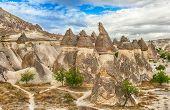 Fairy tale chimney rocks in Pasabg (Monk) Valley in Cappadocia, Turkey