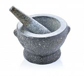 Mortar and pestle. Isolated on white background