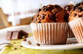 pic of chocolate muffin  - chocolate chip muffins on a table in the kitchen - JPG