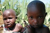 Brother And Sister, Children Of The Maasai, Close-up Portrait.