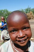 Black African Maasai Tribe Smiling Child, Close-up.