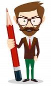 Teacher with a red pencil, vector illustration