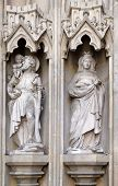 GRAZ, AUSTRIA - JANUARY 10, 2015: Statue on the portal of Parish Church of the Holy Blood in Graz, Styria, Austria on January 10, 2015.