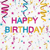 stock photo of birthday  - Happy birthday vector illustration with color ribbons - JPG