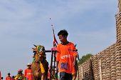 Jockey leads Bulls in Madura Bull Race, Indonesia