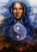 Beautiful Oil Painting On Canvas Of A Woman Goddess Lada As A Mighty Loving Guardian, With Symbol Ji