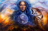 picture of canvas  - A beautiful painting oil on canvas of a female goddess lada guarding a sacred balance with a flying heron and a roaring tiger - JPG
