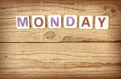 image of monday  - The word MONDAY written in wooden letterpress type - JPG