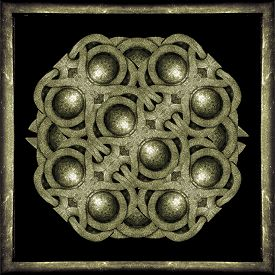 stock photo of celtic  - Stone material celtic style unique decorative mystic framed symbol in pale brown tones in black background - JPG