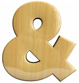 picture of ampersand  - Ampersand wooden symbol isolated on white background - JPG