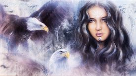 stock photo of airbrush  - beautiful airbrush painting of an enchanting woman face with two flying eagles - JPG