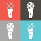 image of microphone  - Microphone icon classic microphone symbol on color background - JPG