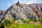picture of chimney rock  - Beautiful landscape with pink rocks in Cappadocia - JPG