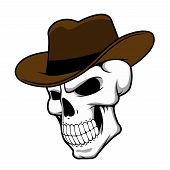 picture of fedora  - Cowboy skull wearing a stylish brown fedora hat in a halloween concept - JPG