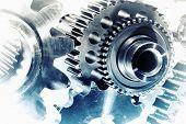 foto of titanium  - cogwheels and gears - JPG