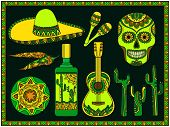 picture of sombrero  - Vector set of traditional mexican symbols - JPG