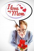 foto of bunch roses  - Geeky hipster holding a bunch of roses against mothers day greeting - JPG