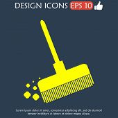 picture of broom  - Broom vector icon Flat vector illustrator Eps - JPG