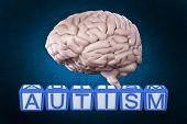 picture of aspergers  - Autism building blocks against blue background with vignette - JPG