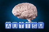 image of autism  - Autism building blocks against blue background with vignette - JPG