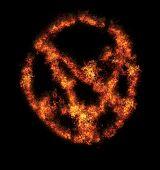 picture of pentagram  - orange flame pentagram isolated on black background - JPG