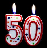 stock photo of 50th  - 50th anniversary number candle isolated on black background - JPG