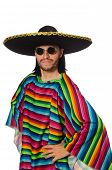 stock photo of vivid  - Handsome man in vivid poncho isolated on white - JPG