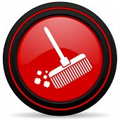 foto of broom  - broom red glossy web icon  - JPG