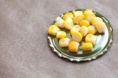 stock photo of paper craft  - Whole kernel sweet corn on the tin can - JPG