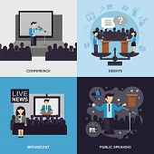 pic of debate  - Public speaking design concept set with conference debate broadcast flat icons isolated vector illustration - JPG