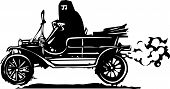 pic of burka  - Woodcut style expressionist image of a woman driving a vintage car in traditional Muslim clothes - JPG