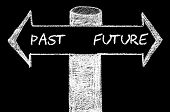 foto of past future  - Opposite arrows with Past versus Future. Hand drawing with chalk on blackboard. Choice conceptual image - JPG