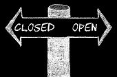 foto of opposites  - Opposite arrows with Closed versus Open. Hand drawing with chalk on blackboard. Choice conceptual image - JPG