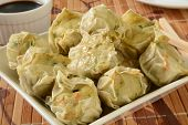 foto of soy sauce  - Close up of a bowl of Chicken Shu Mai with soy sauce - JPG