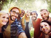 stock photo of bonding  - Diverse Summer Friends Fun Bonding Selfie Concept - JPG