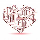 pic of circuits  - printed red electrical circuit board heart symbol eps10 - JPG