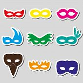 pic of carnival rio  - carnival rio color stickers masks simple icons set eps10 - JPG