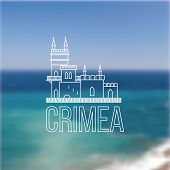stock photo of swallow  - Vector linear symbol of Crimea on blurred background - JPG