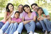 Retrato de grupo da família no Parque