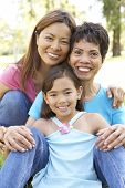 picture of asian woman  - Grandmother With Daughter And Granddaughter In Park - JPG