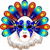 image of masquerade mask  - Carnival women Mask Vector illustration red and blue - JPG