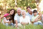 stock photo of 70-year-old  - Portrait Of Extended Family Group In Park - JPG