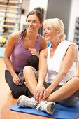 picture of personal trainer  - Woman Doing Stretching Exercises In Gym With Trainer - JPG