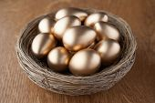 A basket of golden eggs