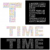 TIME. Word collage. Vector illustration. Illustration with different association terms.