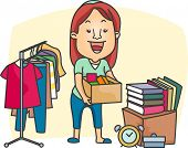 Ilustração de uma menina de preparar uma venda de garagem