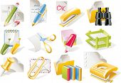 Vector office supplies icon set