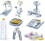 Vector fitness equipment icon set